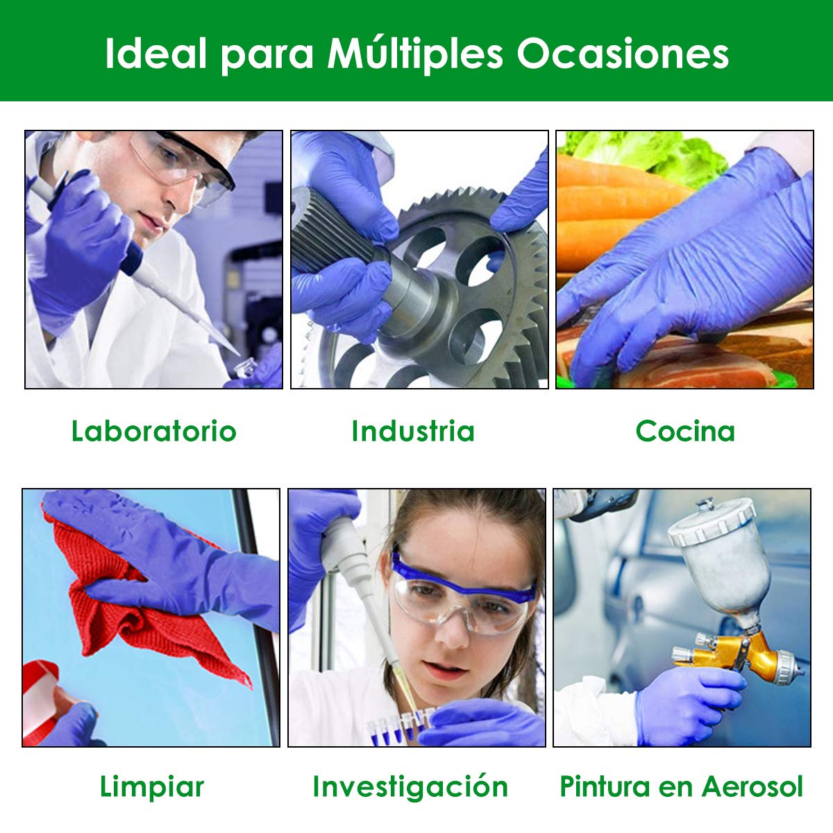 Guantes Protectores para Hogar F/ábricas y etc 100 Piezas Guantes de Limpieza L Laboratorios Guantes de Nitrilo