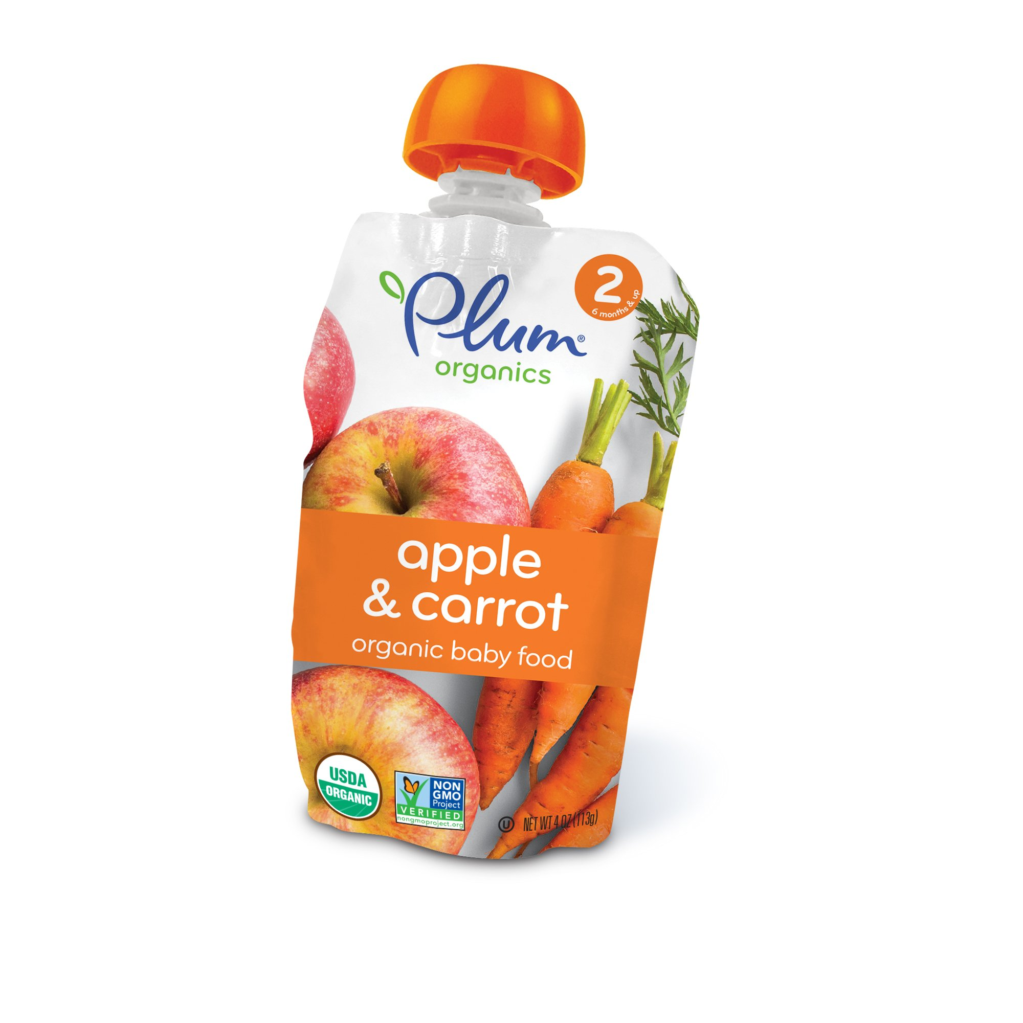 Plum Organics Stage 2, Organic Baby Food, Apple and Carrot, 4 ounce pouch (Pack of 12)