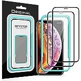 【2枚セット】iPhone Xs Max フィルム HEYSTOP iPhone Xs Max ガラスフィルム 【ガイド枠付き】貼りやすい 全面保護 気泡ゼロ 高透過率 防爆裂 撥水性 硬度9H 防指紋 6.5インチ対応 アイフォンXs Max ガラスフィルム