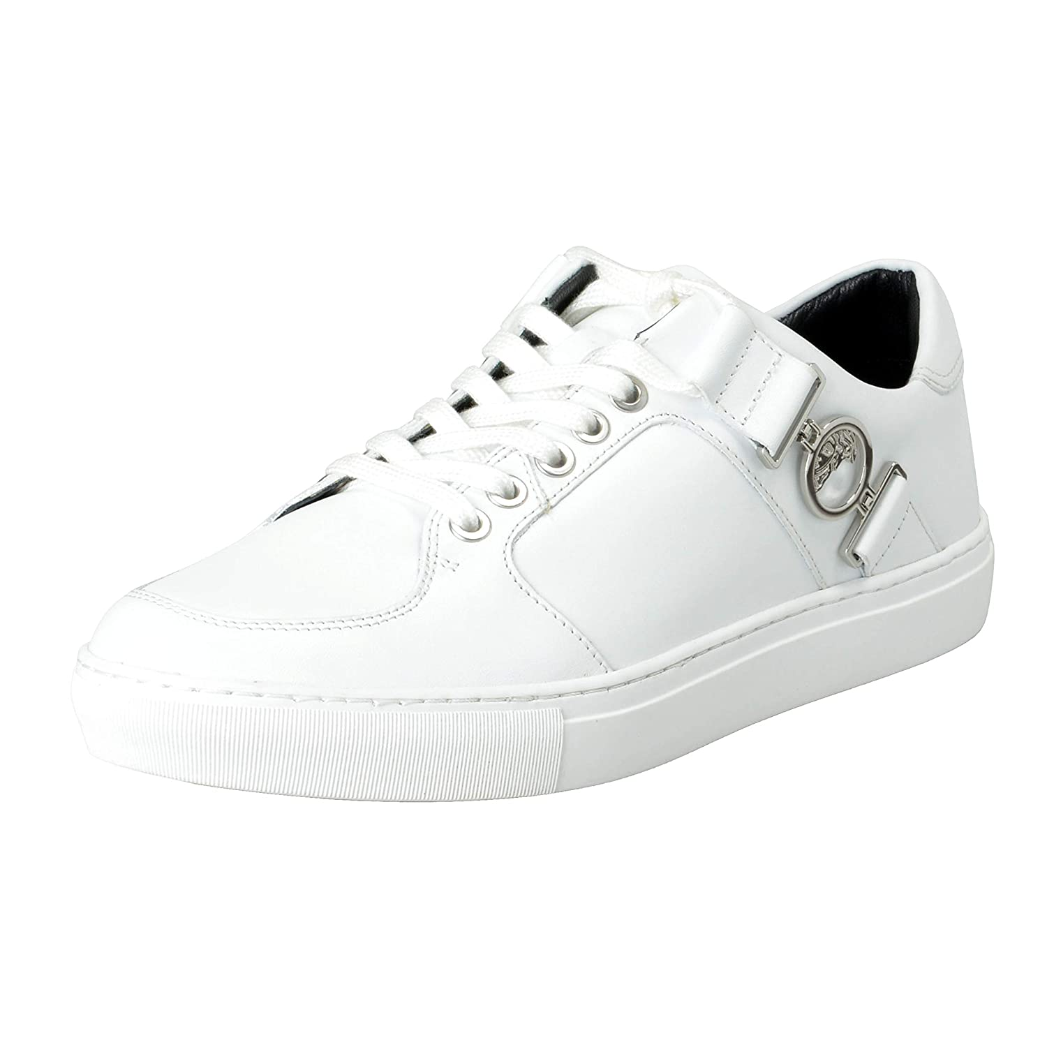 3948a2ad8e7 Amazon.com: Versace Collection Men's White Leather Fashion Sneakers Shoes  Sz US 7 IT 40: Shoes