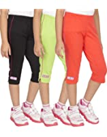 OCEAN RACE Girls Stylish attarctive colors Cotton Capris(3/4 th Pant)-Pack of 3