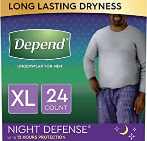 Depend Night Defense Incontinence Underwear for Men, Overnight, Disposable, Size XL, 24 Count (2 Packs of 12) (Packaging May Vary)