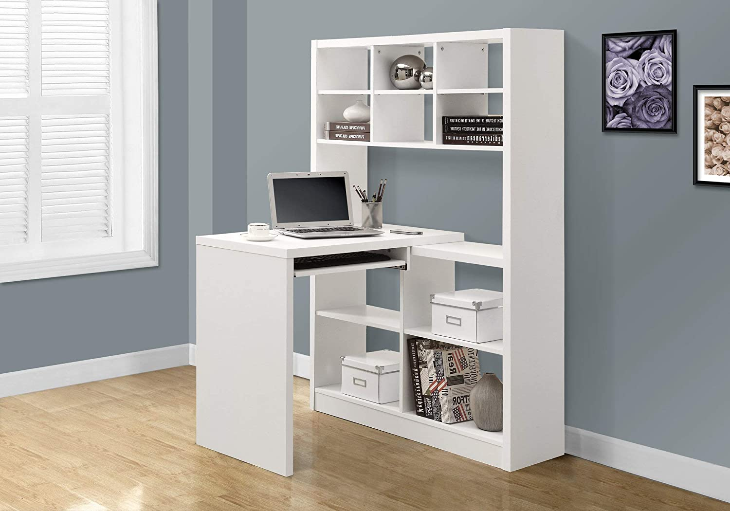 "Monarch Specialties 32 Storage-Bookcase Left Or Right Set Up-Corner Desk  with Multiple Adjustable Shelves, 32"" L, White"