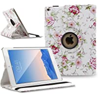 iPad Air 2 (iPad 6) Case Cover, TOPCHANCES 360 Degrees Rotating PU Leather Case Smart Cover Stand Tablet Case Support Wake/Sleep Function w Stylus Pen (White Rose Pattern)