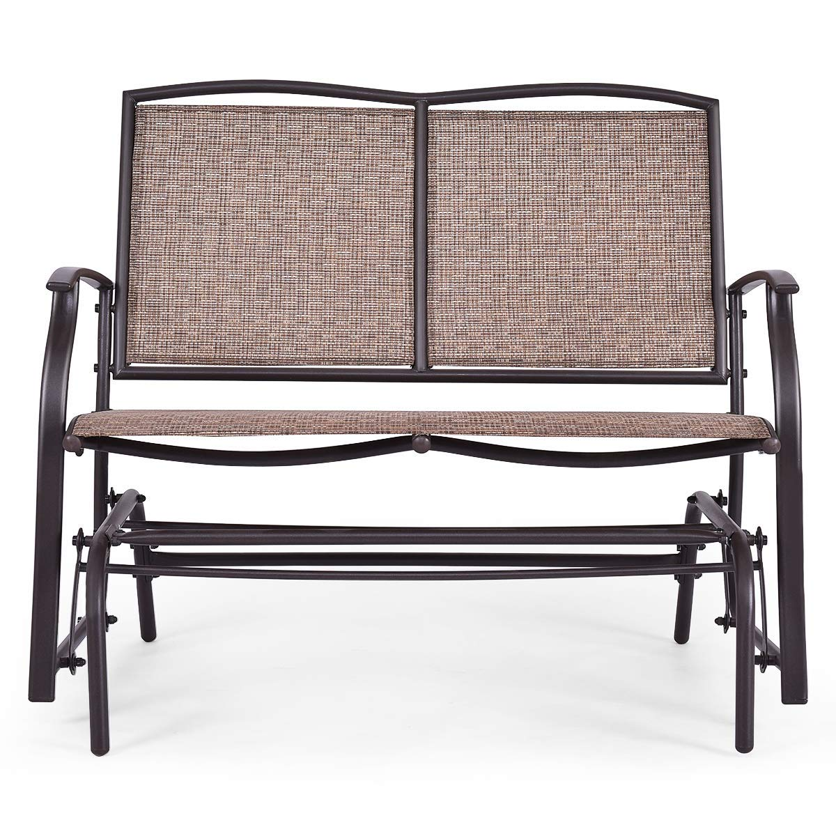 Wenst'sKufAN Patio Glider Chair, Outdoor Textilene Swing Glider Bench with Stable Steel Frame, Patio Swing Glider Bench for 2 Persons Rocking Chair, Idea for Outdoor Backyard,Beside Pool and Lawn by Wenst'sKufAN