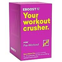 EBOOST POW Natural Pre-Workout – 15 Packets - Berry Melon Fizz - Pre Workout Supplement for Performance, Energy, Focus - Men Women - Non-GMO, Gluten-Free, No Creatine