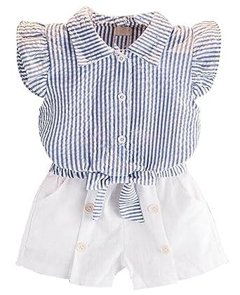 06bd11c8ab37 UNIQUEONE Kids Girls Summer Clothes Ruffle Sleeve Stripe Shirt Top Short  Pant Outfits Set Size 2