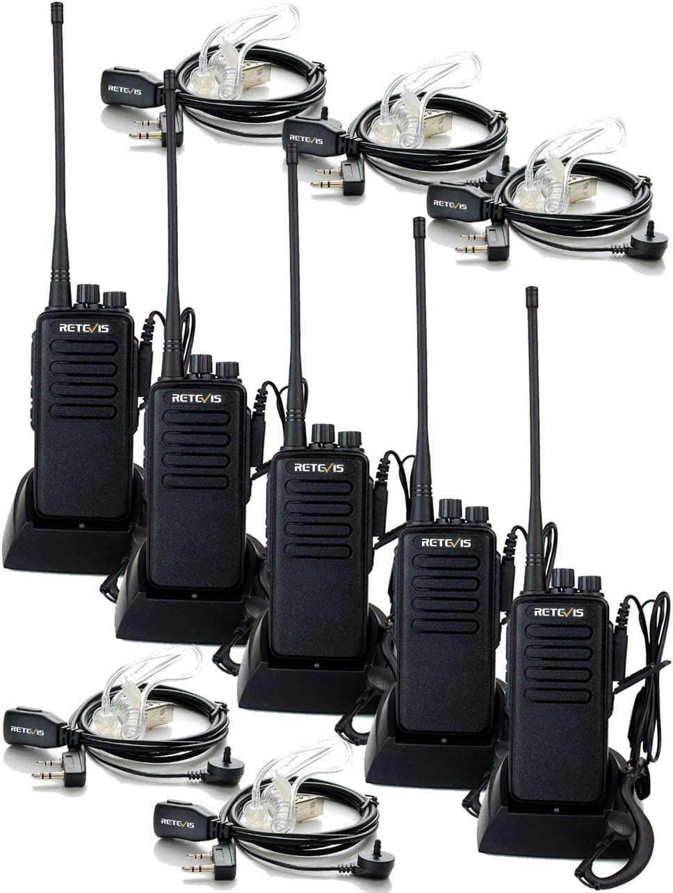 Retevis RT1 Two Way Radios Long Range High-Power UHF 16 Channel 2 Way Radios Hands Free Encryption 3000mAh Walkie Talkies with Earpiece (5 Pack)