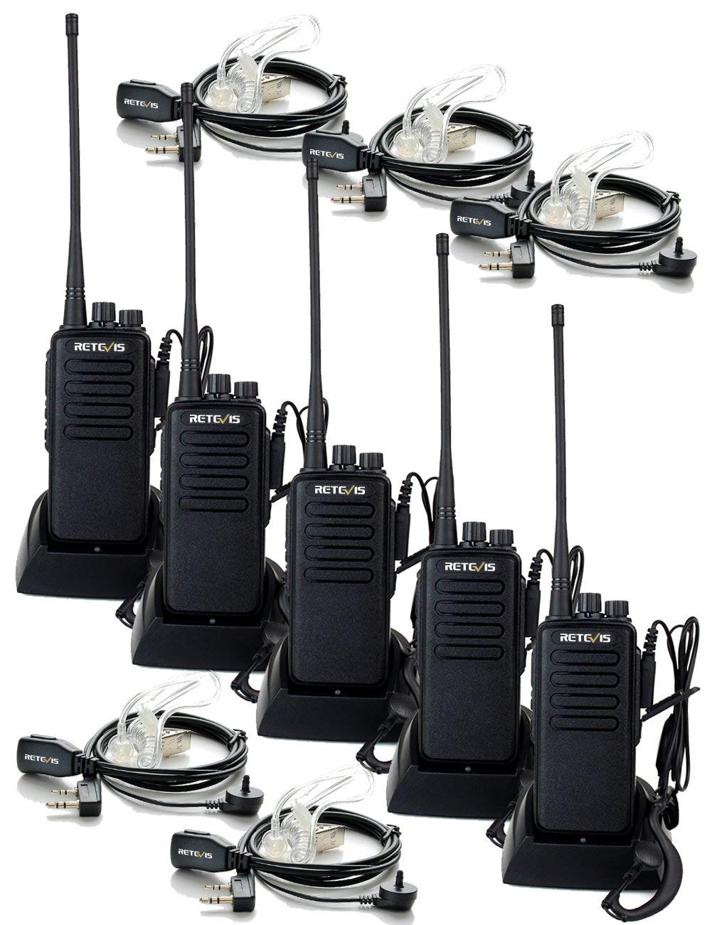 Retevis RT1 Two Way Radios Long Range High-Power UHF 16CH 2 Way Radios Handsfree Encryption 3000mAh Walkie Talkies with Earpiece 5 Pack