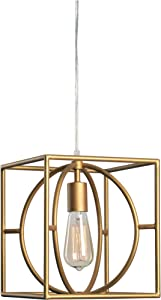 Kenroy Home Modern 1 Light Swag Pendant ,11 Inch Height, 9 Inch Width, 9 Inch Ext. with Gold Finish