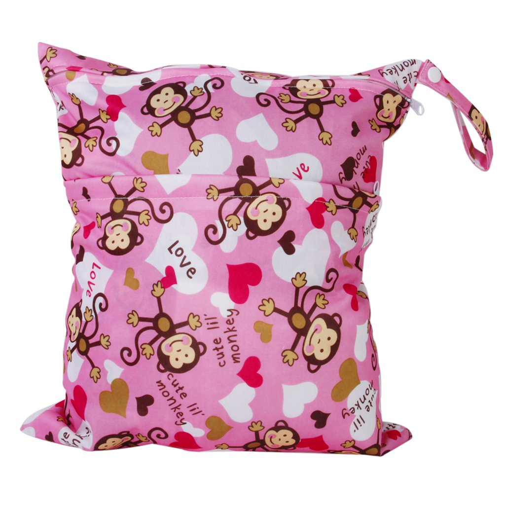 2-Zip Washable Baby Cloth Diaper Nappy Bag Monkey Heart Pink Generic