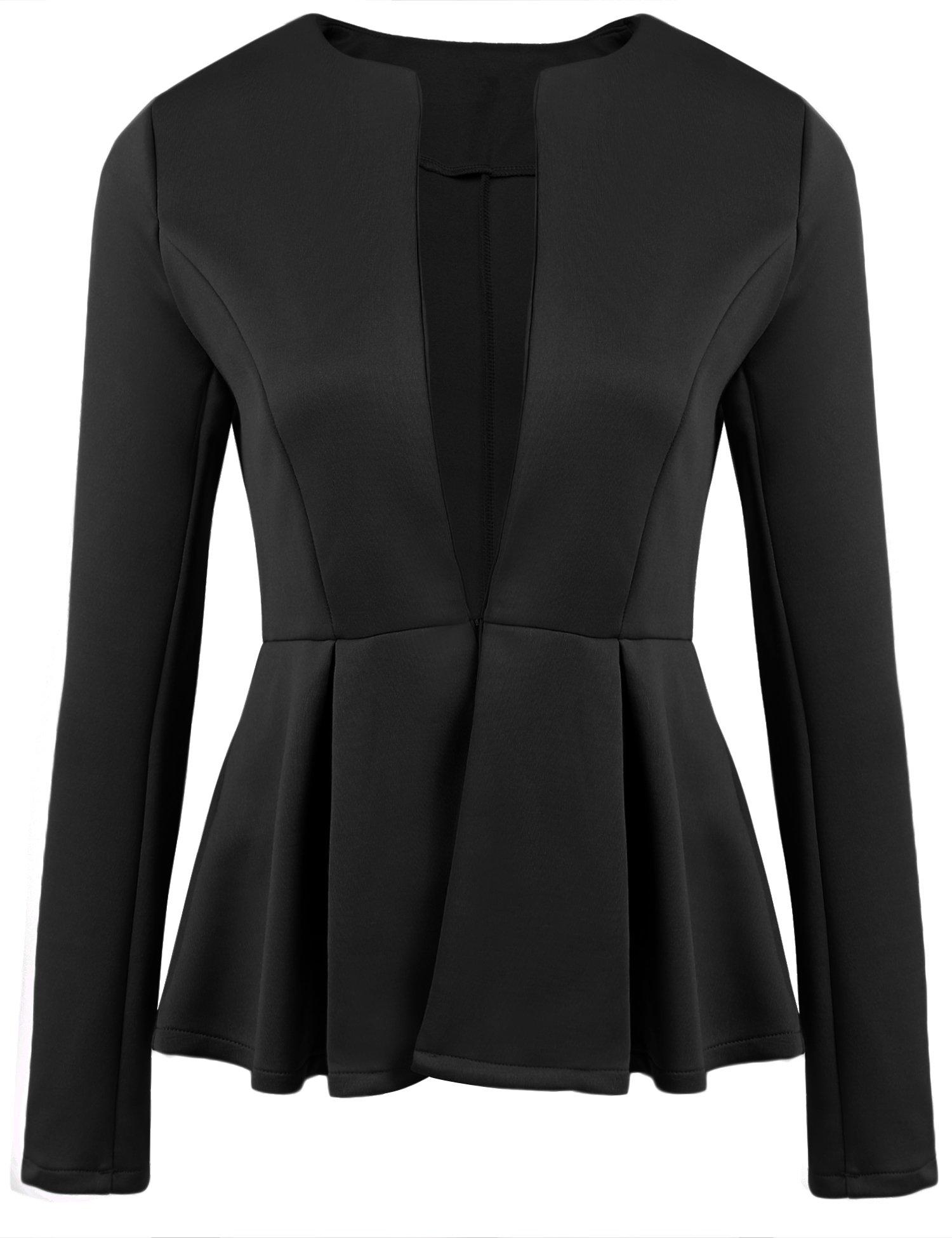 Balancora Damen Business Blazer Slim fit kragenlos OL-Pendler-Blazer mit Rüschesaum Frauen Businessanzug elegant schwarz M