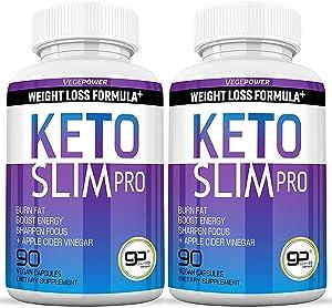Vegepower Keto Diet Pills- Ketone Slim Pro 180 Capsules-Apple Cider Vinegar,Exogenous BHB Salt Supplement for Ketogenic Diet-Utilize Fat for Energy/Focus,Weight Management, Manage Cravings
