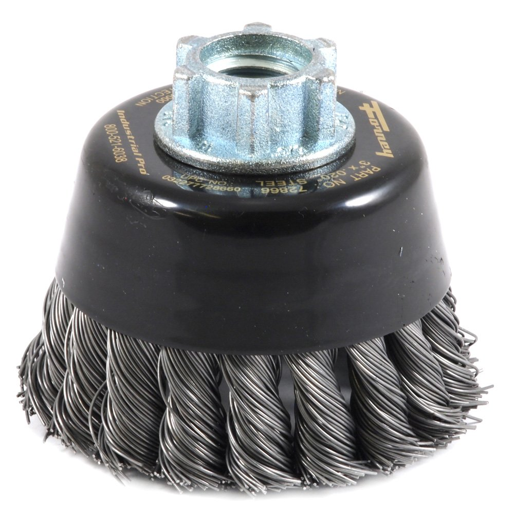 Forney 72866 Wire Cup Brush, Industrial Pro Twist Knot with 5/8-Inch-11 and M14-by-2.0 Multi Arbor, 3-Inch-by-.020