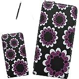 Gr8value PU LEATHER BOOK CASE COVER WALLET FOR Samsung Galaxy Note N7000 (i9220) Samsung Galaxy Note Gt-n7000 I9220 (big purple flower black flip case)