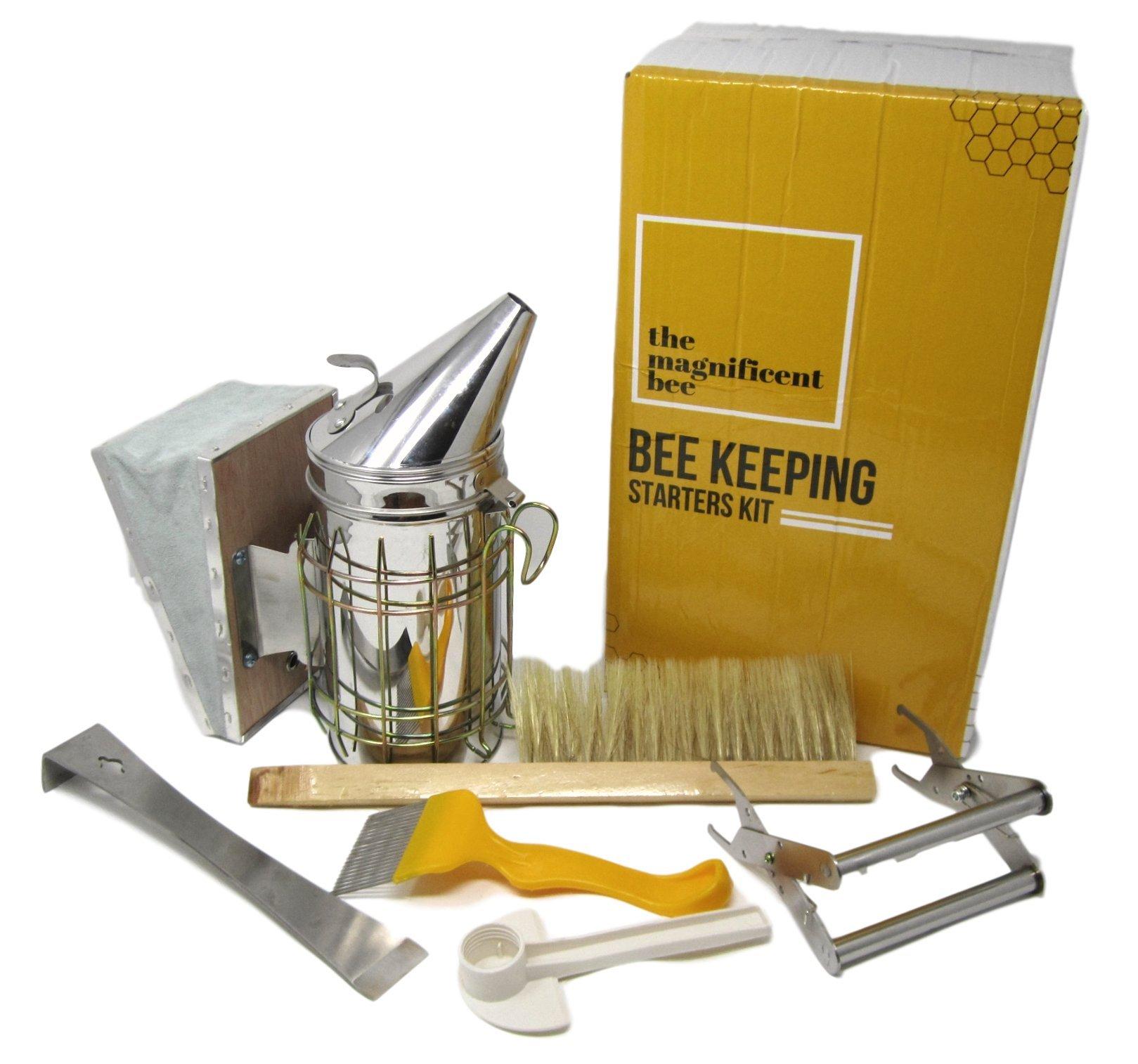 Premium Beekeeping Supplies Starters Kit | 6 Piece Tool Set | Includes Bee Hive Smoker, Uncapping Fork Tool, Bee Brush, Frame Grip, Extracting Scraper, Bee Feeder Tool