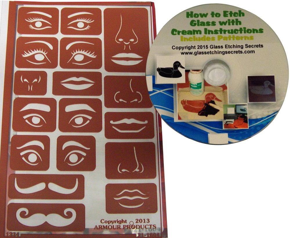 Free How to Etch CD lips and mustaches Reusable Stencil Eyes /& Face Elements includes nose