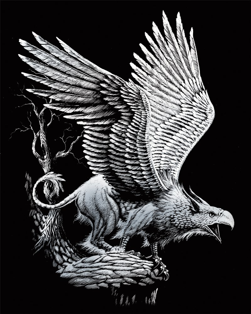 8 by 10-Inch Screaming Griffin ROYAL BRUSH Silver Foil Engraving Art Kit