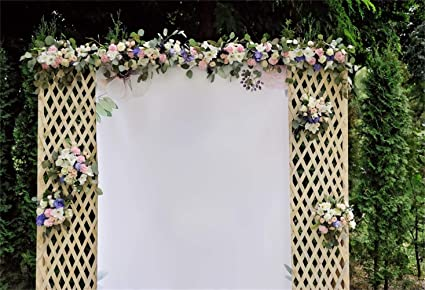 GoHeBe Graceful Floral Trellis Wall Backdrop 10x7ft Vinyl Beautiful Orange Flowers Wedding Ceremony Photo Booth Background Wedding Celebration Party Banner Bridal Shower Bride Groom Shoot