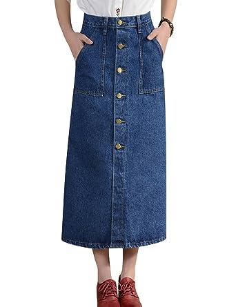78b8106d50c195 Tanming Women's Button Front Long Midi Denim Jean Pencil Skirt (X-Small,  Blue
