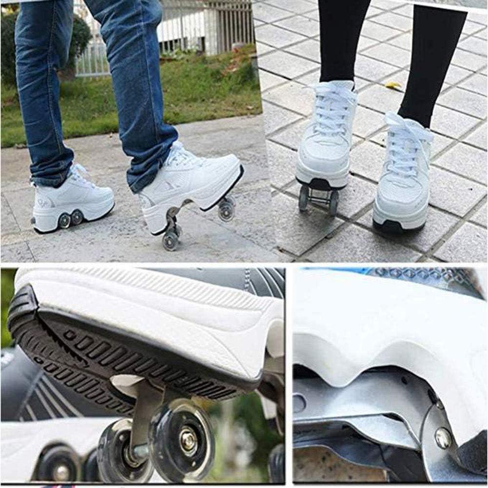 Fbestxie Patins /À roulettes R/églables D/ébutant Rollerblades 2-en-1 Multi-Usages Inline Skates Unisexe Adulte Enfants Chaussures De Sport en Plein Air