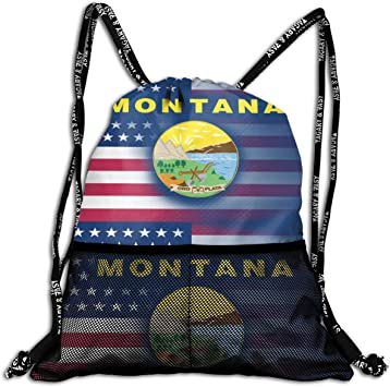 Mochila Casual,Mochila de Cuerdas Backpack USA Montana State Flag Large Drawstring Sports Gym Bag for Women Mens with Zipper and Mesh Pockets, Travel Beach Bag Pack for Teens Unisex: Amazon.es: Equipaje