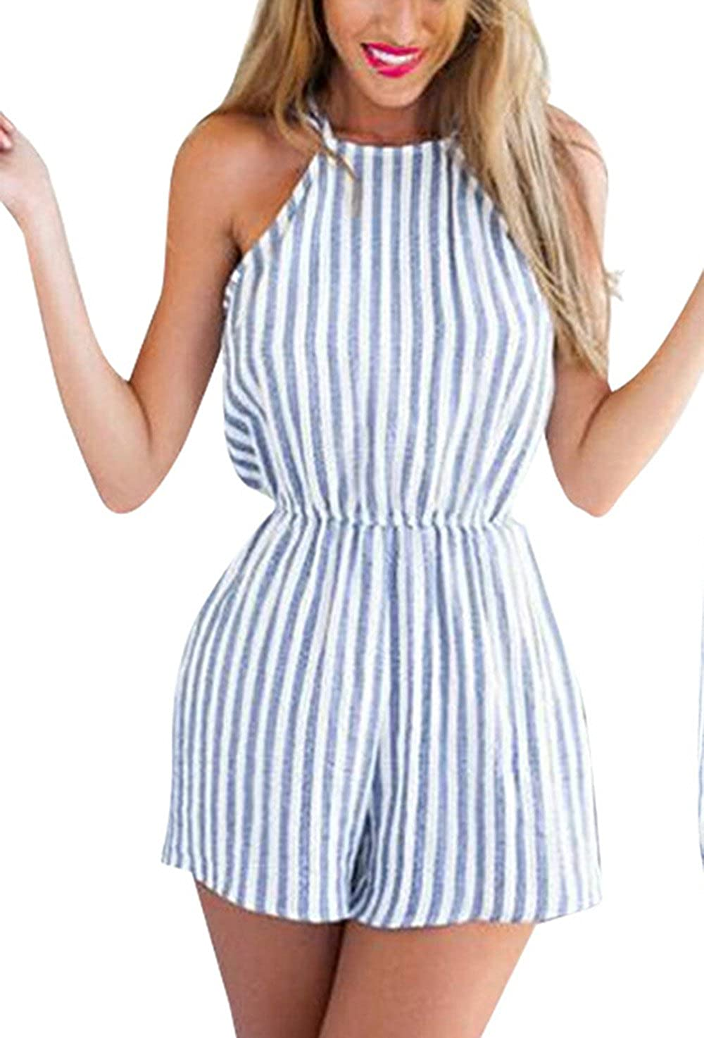 7c143a9eadb1 Amazon.com  Jumpsuit for Women Sleeveless Slim Straight Vertical Stripe  Wide Truffle Back Siamese Pants Light Blue  Clothing