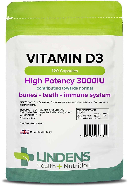 Lindens Vitamina D3 3000 ui en cápsulas | 120 Paquete | Vitamina D de gran potencia, con un 1500 % de VRN, que contribuyen a la normalidad de los ...