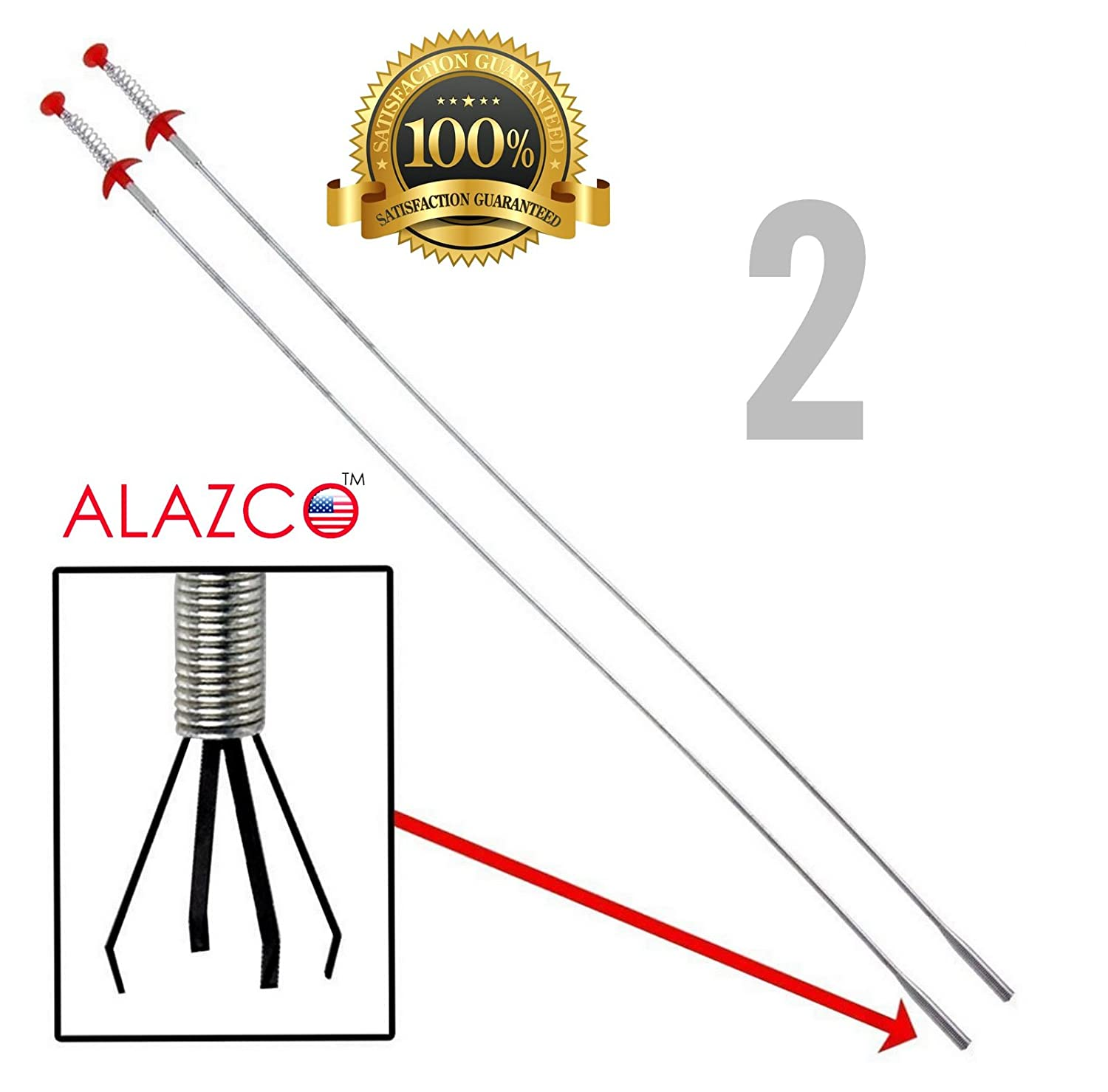 "2 ALAZCO 36"" Extra Long Flexible Grabber Pickup Tool Retractable Claw Retriever Stick, Snake & Cable Aid - Push Grab & Pick Up - Drain Auger Unclog Hair from Sink Drain Toilet Clean Dryer Vent"