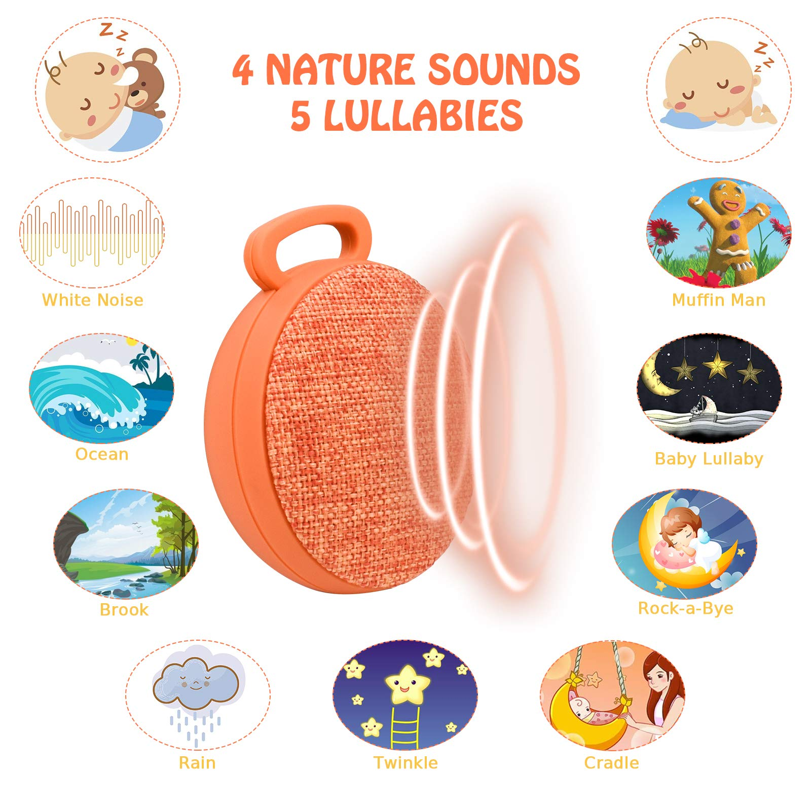 Sound Machine, L\'émouchet 9 Sounds Baby White Noise Machine, 4 Soothing Nature Sounds & 5 Lullabies, Rechargeable Battery, Much Longer Auto-Off Timer, Portable Sound Machine(102 Decibels)