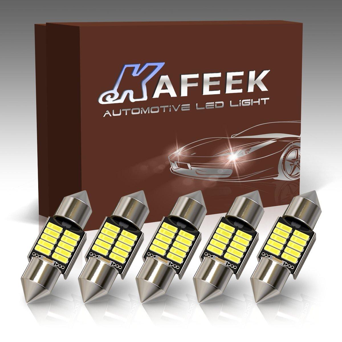 KAFEEK 5× 9-30V Super Bright 31mm DE3175 3175 De3022 De3021 LED Bulb 4014 Chipset Canbus Error Free Dome Light Trunk Light Map Light, White