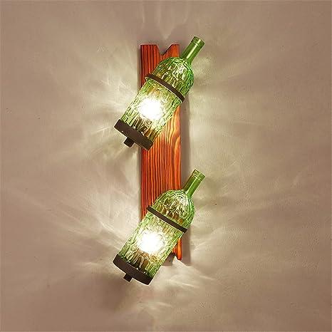 Z&MDH Lámpara de pared industrial retro, lámpara de pared de la botella de vino del