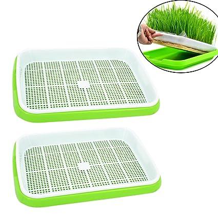 Bandeja para semillas, mecotech 2pcs double-couche bandeja Godet de germinación de plástico,