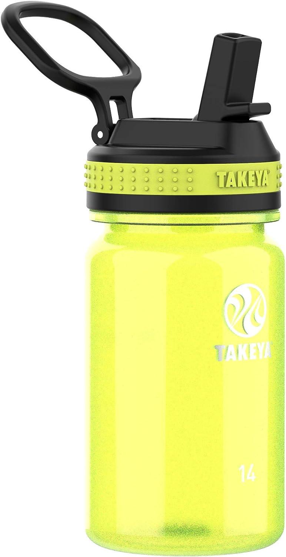 Takeya Tritan Sports Water Bottle with Straw Lid, 14 oz, Wild Lime