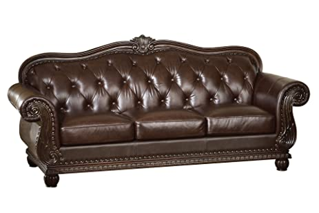 Amazoncom ACME 15030 Top Grain Leather Sofa Dark Brown Leather