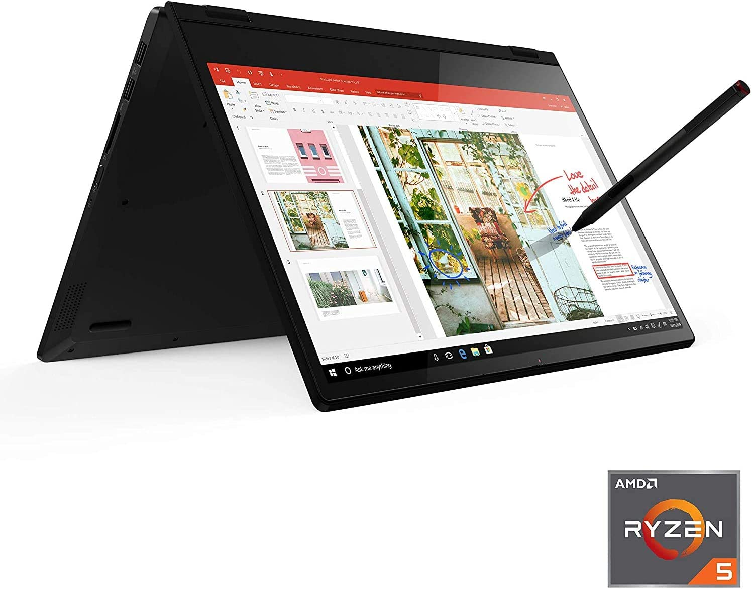 Lenovo Flex 14 2-in-1 Convertible Laptop, 14 Inch FHD Touchscreen Display, AMD Ryzen 5 3500U Processor, 12GB DDR4 RAM, 256GB NVMe SSD, Windows 10, 81SS000DUS, Black, Pen Included (Renewed)