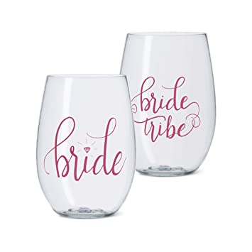 41066d77027 11 Piece Set of Pink Bride Tribe Durable Plastic Stemless Wine Glasses for  Bachelorette Parties,...