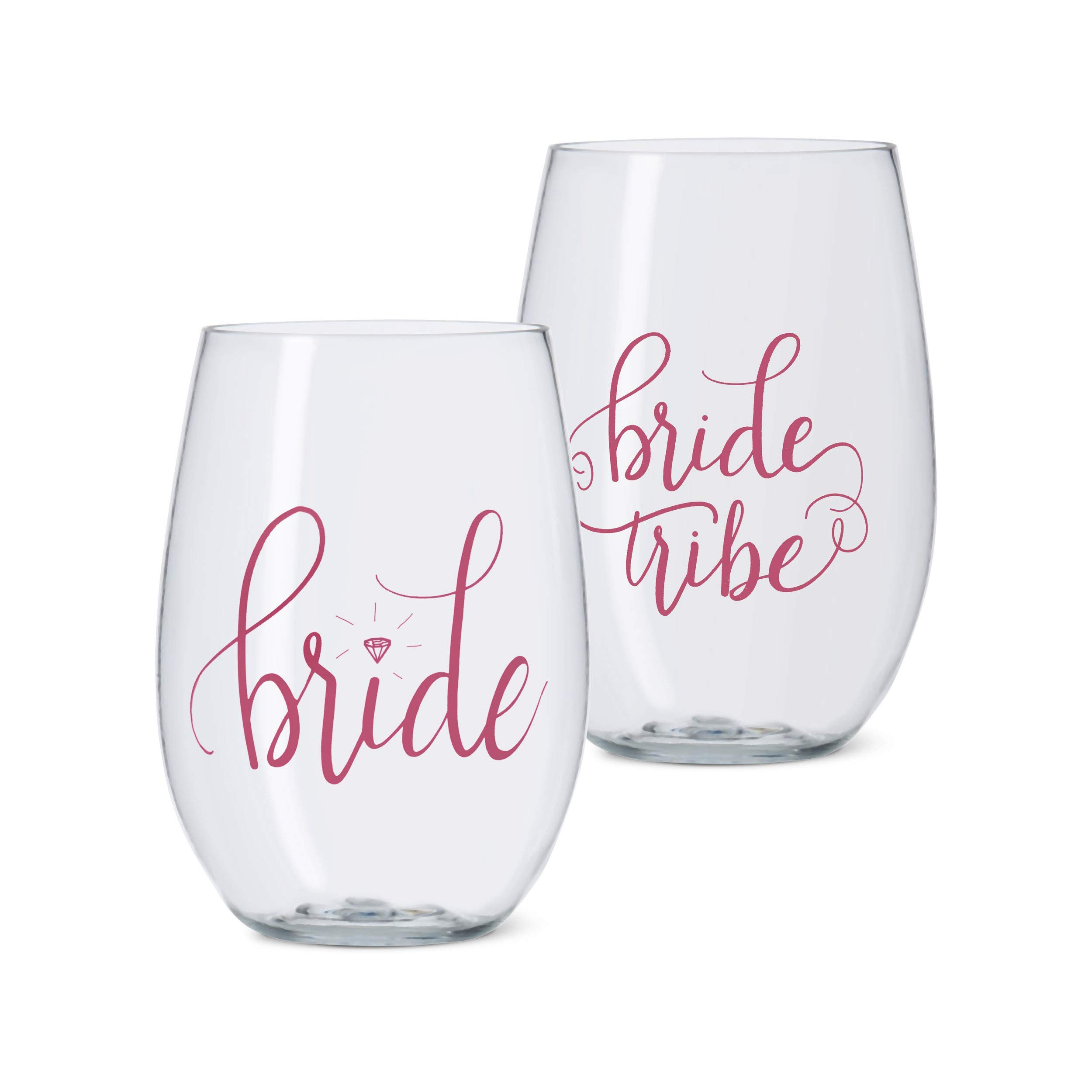 11 Piece Set of Pink Bride Tribe Durable Plastic Stemless Wine Glasses for Bachelorette Parties, Weddings and Bridal Showers