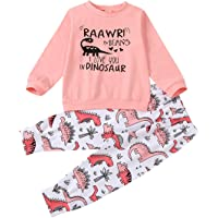 Cecobora Toddler Baby Girls Fall Winter Outfit Long Sleeve Ruffle Shirts+Floral Pants+Headband+Hat Clothes Set 4Pcs