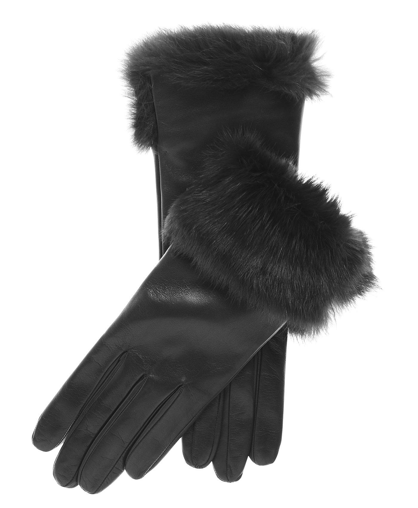 Fratelli Orsini Women's Italian Rabbit Fur Cuff Winter Leather Gloves Size 8 Color Black