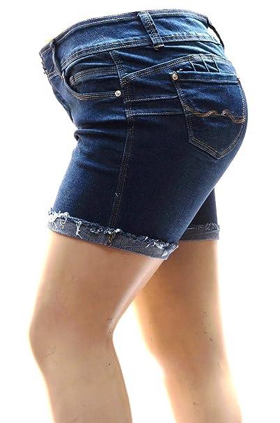 84a8eeccfd00b David J Womens Plus Size Short Stretch Distressed Ripped Blue Denim Jeans  Shorts (14,