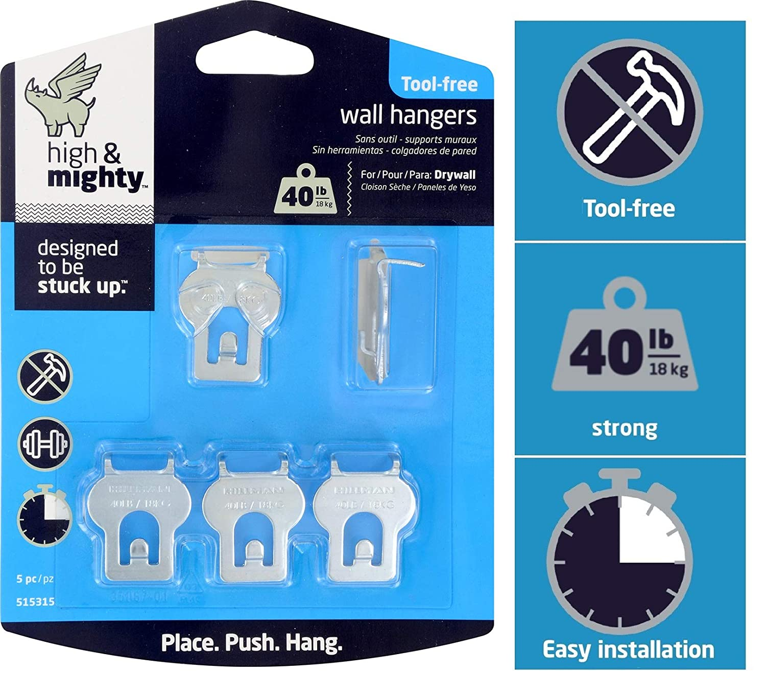 High Mighty 515315 Tool Free Picture Hanging Kit 40 Lb Limit 5