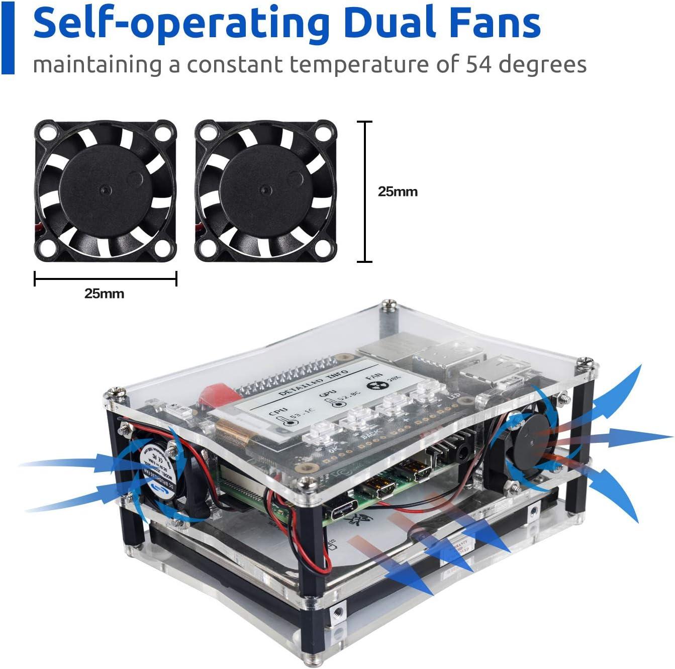NAS Hat Dual fan SUNFOUNDER NAS Kit for Raspberry pi 4B 3B+ 3B 3A+ 2B Micro SD card Included