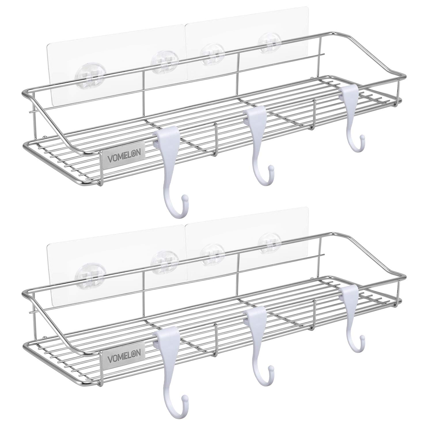 Bathroom Organizer,2 Pack Adhesive Bathroom Shelf Extra Large 16''X4.75'' Shower Caddy Shower Storage shelf with 8 Towel Hooks, No Wall Damage SUS304 Stainless Bathroom shelving Racks,Kitchen Caddy Rack