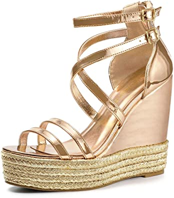 Allegra K Womens Espadrille Crisscross Strappy Platform Wedges Sandals
