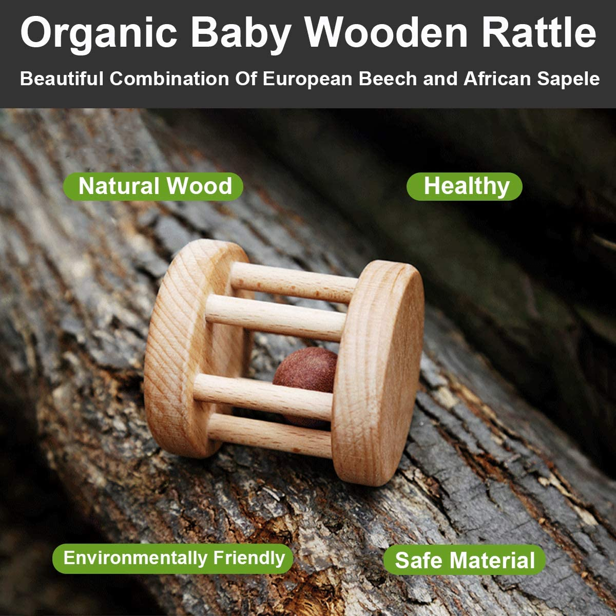 Great Wooden Toys for Baby and Infant Montessori Ball Baby Infant Toy Baby Bell Crawling Toys WIKIDOO Wooden Rattle Organic Baby Toys Baby Rattle Natural Wooden Baby Toys