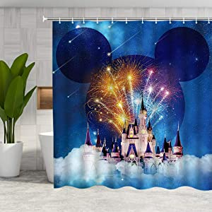 DMTTY Fantasy Castle Shower Curtain Blue Background Decor Colorful Firework Pink Castle Bathroom Curtain 72x72 Inches Fabric Bathroom Accessories Polyester with Hooks