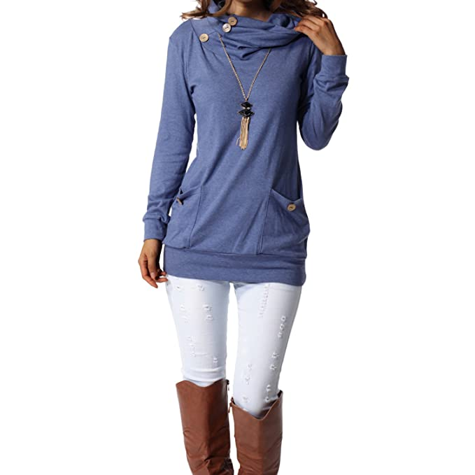 levaca Womens Button Cowl Neck Casual  Tunic Shirts
