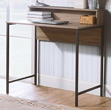 Homestar Titania Computer Desk With Hutch In Reclaimed Wood Finish