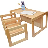 Obique 3 in 1 Children's Multifunctional Furniture Set of 3, Two Small Chairs Tables One Large Bench Table Beech Wood, Natural